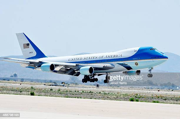 President Barack Obama arrives at MCAS Miramar aboard Air Force One on May 8 2014 in San Diego California