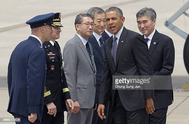 S President Barack Obama arrives at the Onsan Airbase on April 25 2014 in Pyeongtaek South Korea The US President is on an Asian tour where he is due...