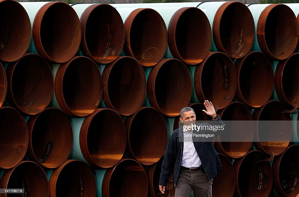 U.S. President Barack Obama arrives at the southern site of the Keystone XL pipeline on March 22, 2012 in Cushing, Oklahoma. Obama is pressing federal agencies to expedite the section of the Keystone XL pipeline between Oklahoma and the Gulf Coast.