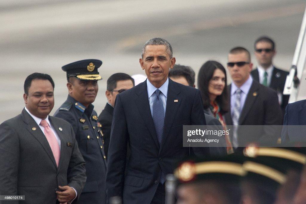 President Barack Obama arrives at the Subang Royal Malaysian Air Base ahead of 27th Association of SouthEast Asian Nations Summit in Kuala Lumpur...