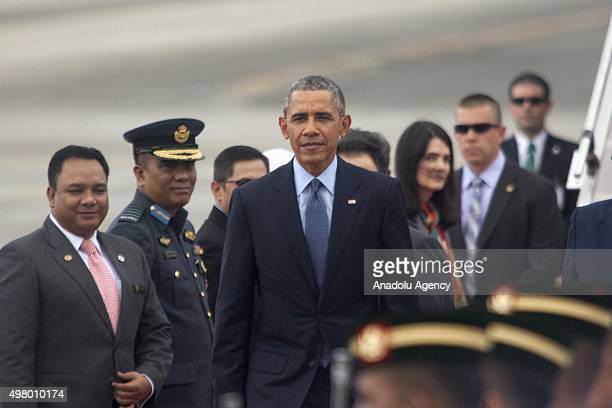 President Barack Obama arrives at the Subang Royal Malaysian Air Base ahead of 27th Association of SouthEast Asian Nations Summit in Kuala Lumpur...