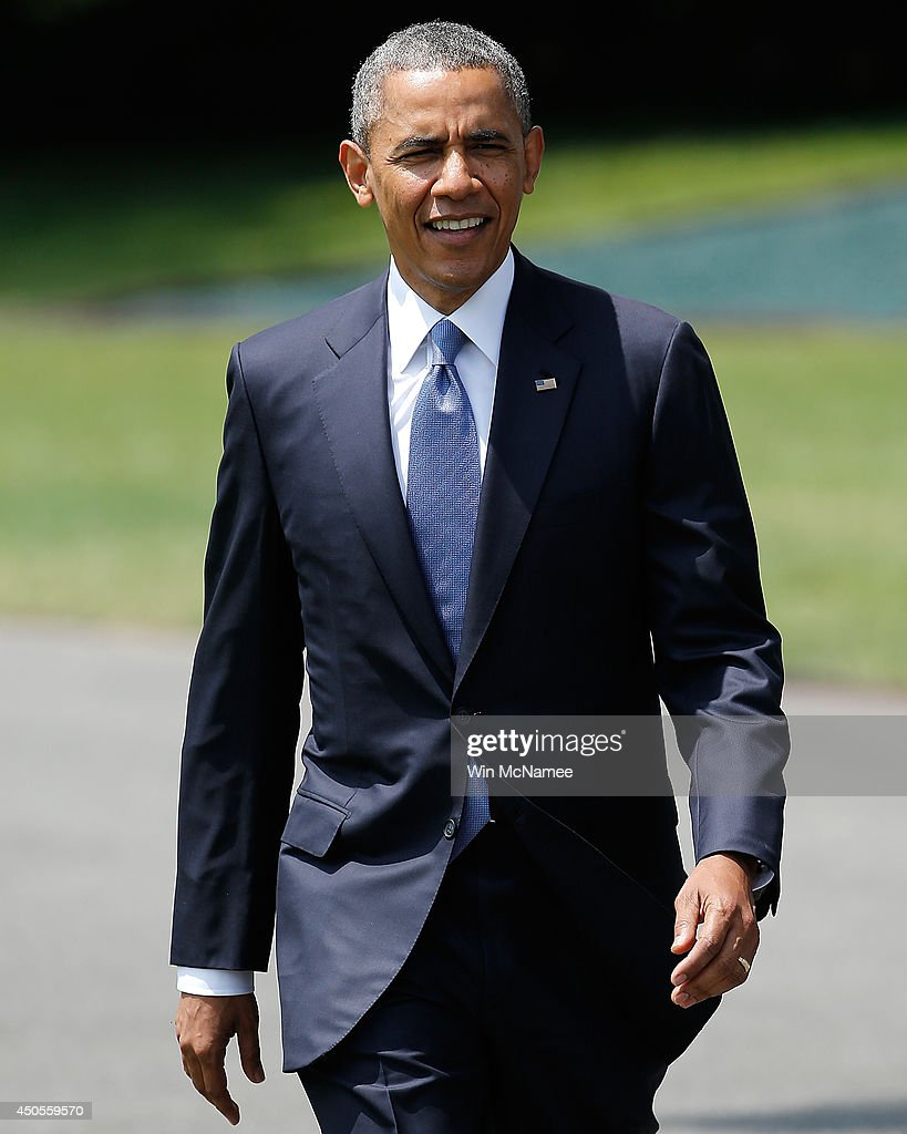 U.S. President <a gi-track='captionPersonalityLinkClicked' href=/galleries/search?phrase=Barack+Obama&family=editorial&specificpeople=203260 ng-click='$event.stopPropagation()'>Barack Obama</a> arrives before making a statement on the situation in Iraq June 13, 2014 on the south lawn of the White House in Washington, DC. Obama said he will make a decision in the 'days ahead' about the use of American military power to aid the Iraqi government in its battle against Islamic insurgents.