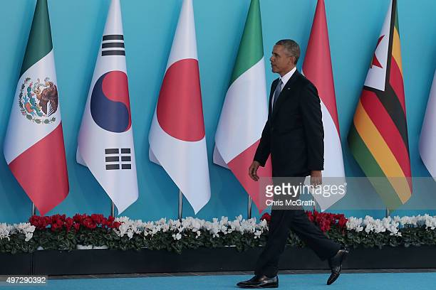 President Barack Obama arrives during the official welcome ceremony on day one of the G20 Turkey Leaders Summit on November 15 2015 in Antalya Turkey...