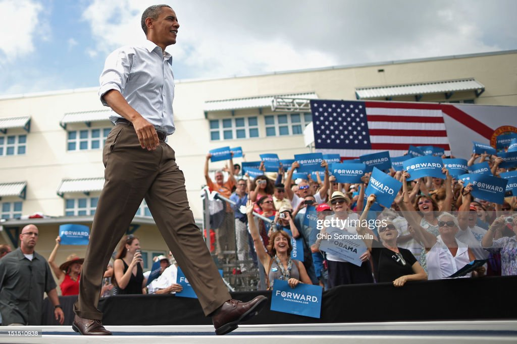 U.S. President <a gi-track='captionPersonalityLinkClicked' href=/galleries/search?phrase=Barack+Obama&family=editorial&specificpeople=203260 ng-click='$event.stopPropagation()'>Barack Obama</a> arrives for a campaign rally on the campus of St. Petersburg College September 8, 2012 in St Petersburg, Florida. Working with the momentum from this week's Democratic National Convention, Obama is doing a two-day campaign swing from one side of Florida to the other on the politically important I-4 corridor.