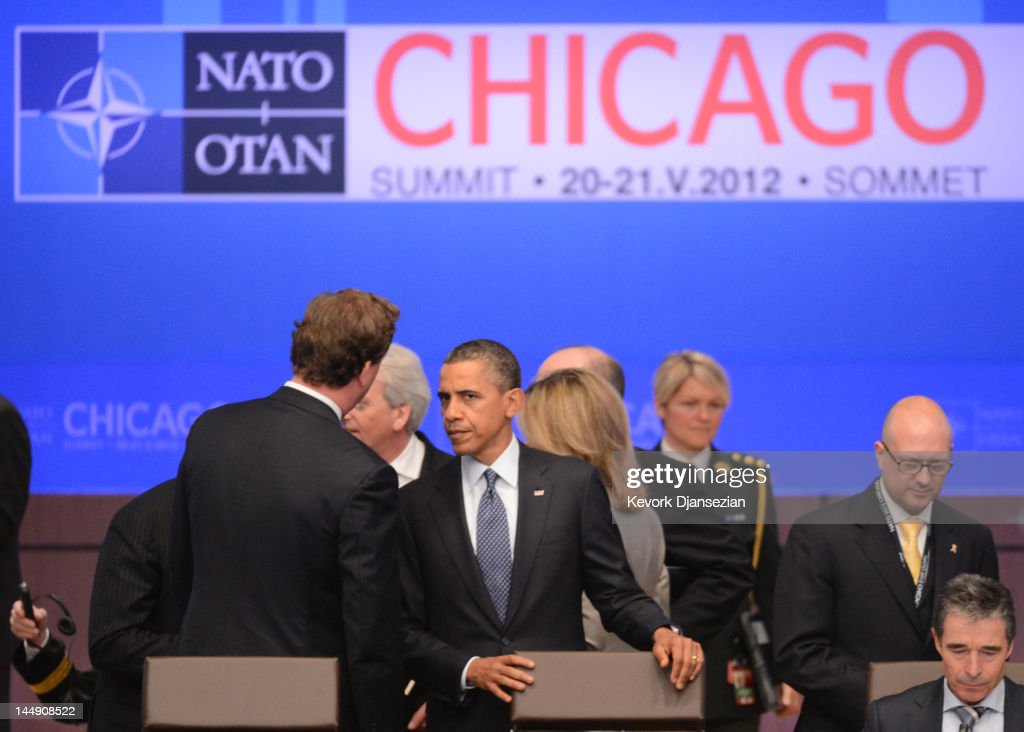 U.S. President <a gi-track='captionPersonalityLinkClicked' href=/galleries/search?phrase=Barack+Obama&family=editorial&specificpeople=203260 ng-click='$event.stopPropagation()'>Barack Obama</a> arrives for a meeting during the NATO summit on May 20, 2012 in Chicago, Illinois. As sixty heads of state converge for the two day summit that will address the situation in Afghanistan among other global defense issues, thousands of demonstrators have taken the streets to protest.