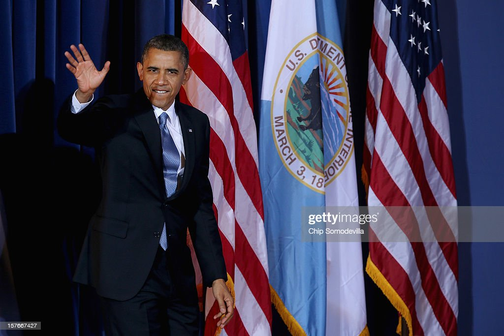 U.S. President <a gi-track='captionPersonalityLinkClicked' href=/galleries/search?phrase=Barack+Obama&family=editorial&specificpeople=203260 ng-click='$event.stopPropagation()'>Barack Obama</a> arrives for the closing session of the White House Tribal Nations Conference at the Department of Interior December 5, 2012 in Washington, DC. Obama and cabinet secretaries from his administration addressed the conference, which included breakout sessions on topics like 'Protecting Our Communities: Law Enforcement and Disaster Relief,' 'Building Healthy Communities, Excellence in Education and Native American Youth,' and other subjects.