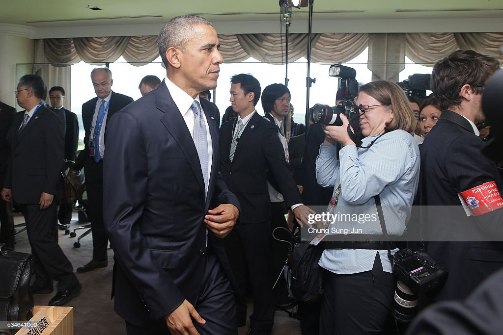 U.S. President <a gi-track='captionPersonalityLinkClicked' href=/galleries/search?phrase=Barack+Obama&family=editorial&specificpeople=203260 ng-click='$event.stopPropagation()'>Barack Obama</a> arrives for the G7 Working Session on May 27, 2016 in Kashikojima, Japan. In the two-day summit, the G7 leaders discussed the pressing global issues including counter-terrorism, energy policy, and sustainable development.