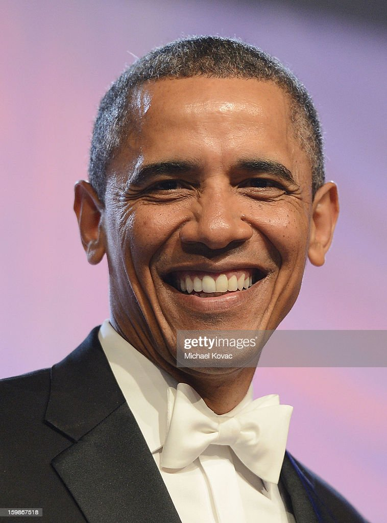 U.S. President <a gi-track='captionPersonalityLinkClicked' href=/galleries/search?phrase=Barack+Obama&family=editorial&specificpeople=203260 ng-click='$event.stopPropagation()'>Barack Obama</a> arrives for The Inaugural Ball at the Walter E. Washington Convention Center on January 21, 2013 in Washington, United States.