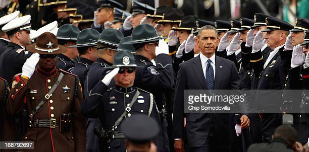S President Barack Obama arrives for the National Peace Officers' Memorial Service at the US Capitol May 15 2013 in Washington DC Obama Attorney...