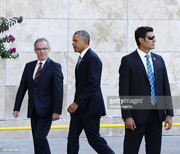 President Barack Obama arrives for the 'Welcoming Ceremony' prior to the G20 Turkey Leaders Summit on November 15 2015 in Antalya Turkey