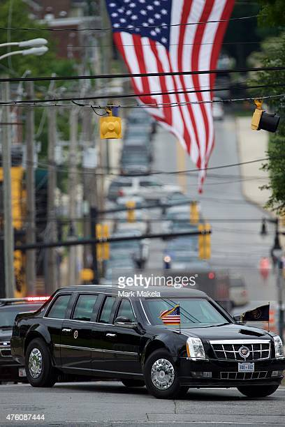 S President Barack Obama arrives in a limo at St Anthony of Padua Church for a mass of Christian burial for the son of Vice President Joe Biden...