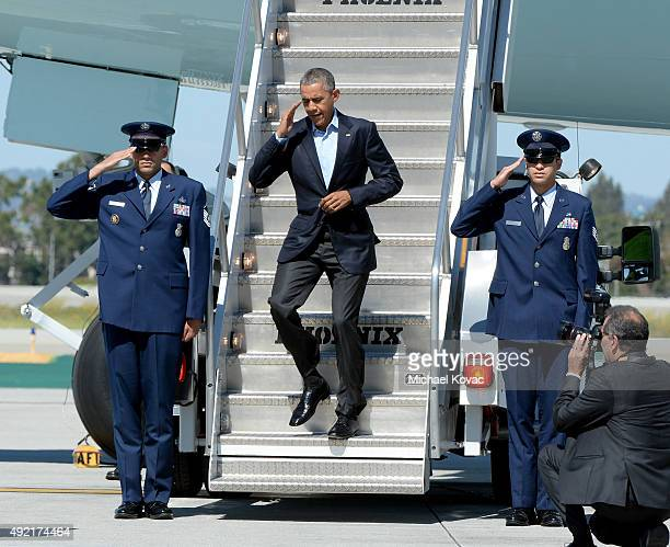 S President Barack Obama arrives In Air Force One at LAX Airport on October 10 2015 in Los Angeles California