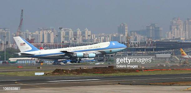 President Barack Obama arrives in India as Air Force One lands at Chhatrapati Shivaji International airport on November 6 2010 in Mumbai India The US...