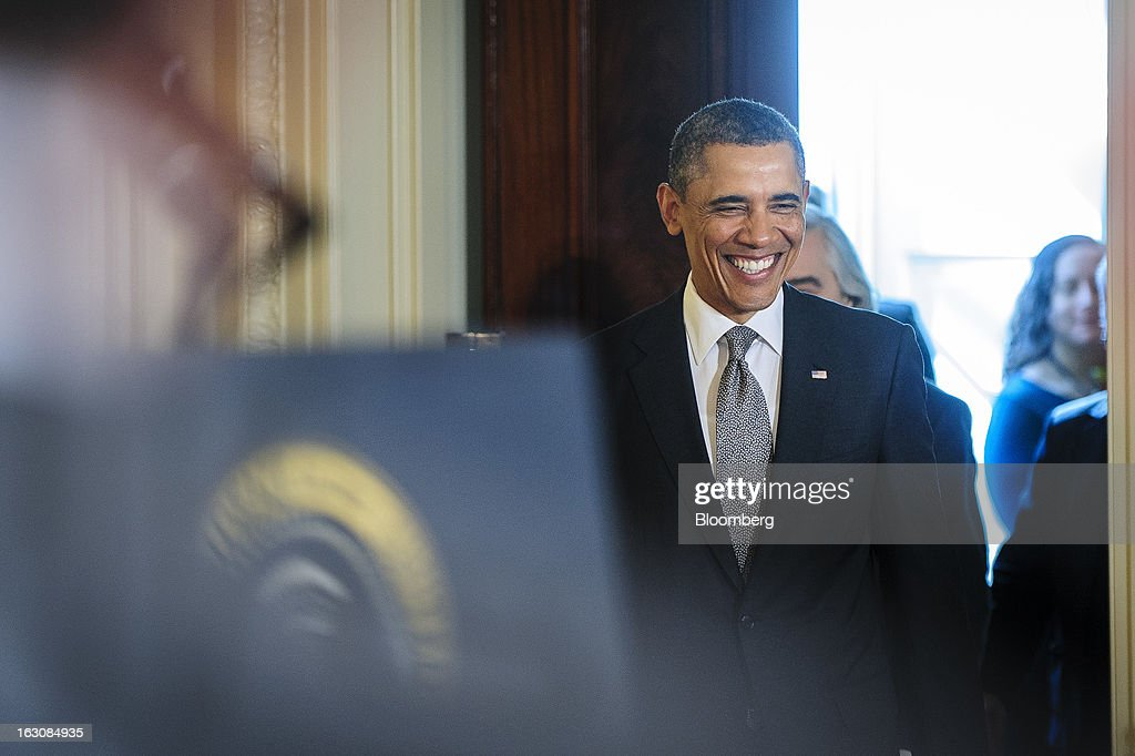 President <a gi-track='captionPersonalityLinkClicked' href=/galleries/search?phrase=Barack+Obama&family=editorial&specificpeople=203260 ng-click='$event.stopPropagation()'>Barack Obama</a> arrives in the East Room of the White House to announce personnel nominations in Washington, D.C., U.S., on Monday, March 4, 2013. Obama announced three cabinet-level nominations, choosing Sylvia Mathews Burwell of the Wal-Mart Foundation as director of the Office of Management and Budget, scientist Ernest Moniz as head of the Energy Department, and Gina McCarthy to lead the Environmental Protection Agency (EPA), where she's been an assistant administrator. Photographer: Pete Marovich/Bloomberg via Getty Images