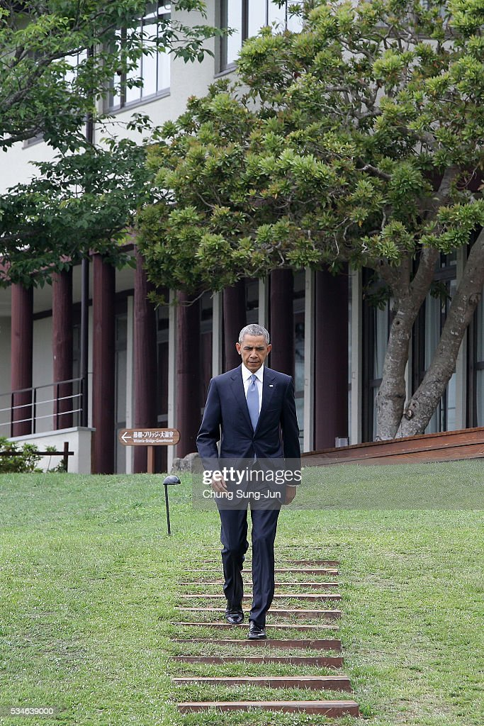 U.S. President Barack Obama arrives last to the 'Outreach Session' family photo session on May 27, 2016 in Kashikojima, Japan. In the two-day summit, the G7 leaders are scheduled to discuss the pressing global issues including counter-terrorism, energy policy, and sustainable development.