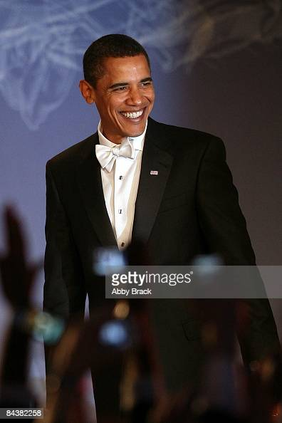 President Barack Obama arrives on stage duringduring MTV ServiceNation Live From The Youth Inaugural Ball at the Hilton Washington on January 20 2009...