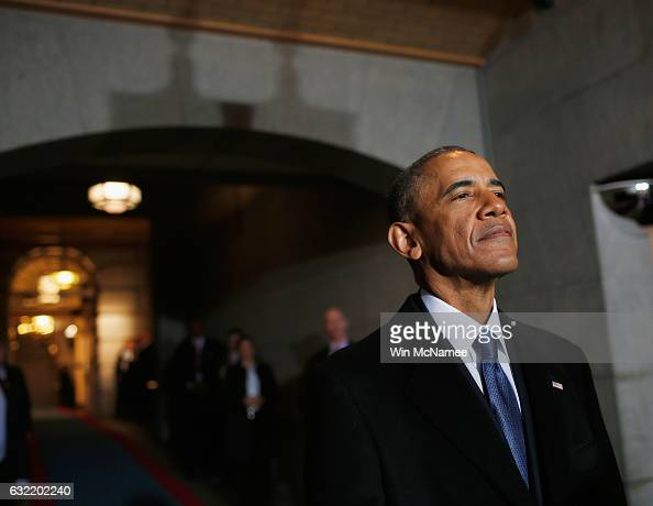 S President Barack Obama arrives on the West Front of the US Capitol on January 20 2017 in Washington DC In today's inauguration ceremony Donald J...
