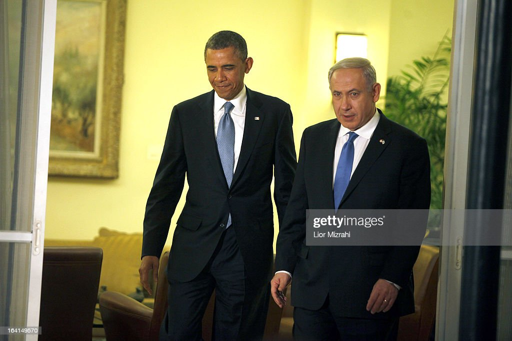 U.S. President Barack Obama (L) arrives to a press conference with Israeli Prime Minister Benjamin Netanyahu on March 20, 2013 in Jerusalem, Israel. This is Obama's first visit as President to the region, and his itinerary will include meetings with the Palestinian and Israeli leaders as well as a visit to the Church of the Nativity in Bethlehem.