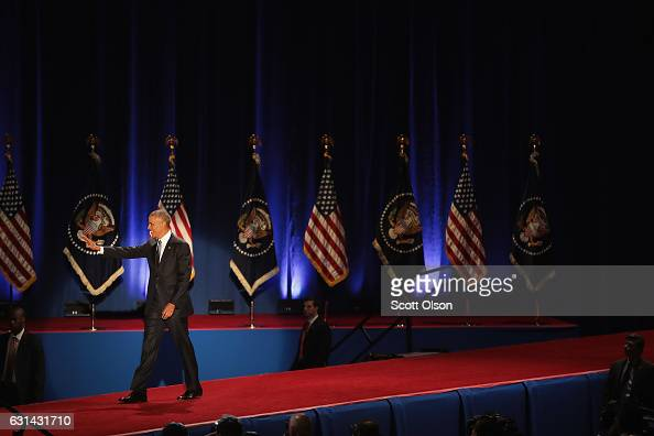 President Barack Obama arrives to deliver a farewell speech to the nation on January 10 2017 in Chicago Illinois Presidentelect Donald Trump will be...