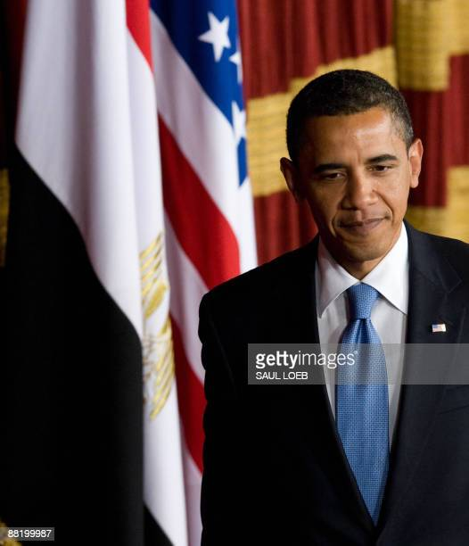 US President Barack Obama arrives to deliver his highlyanticipated address to the Muslim world on June 4 2009 in the Grand Hall of Cairo University...