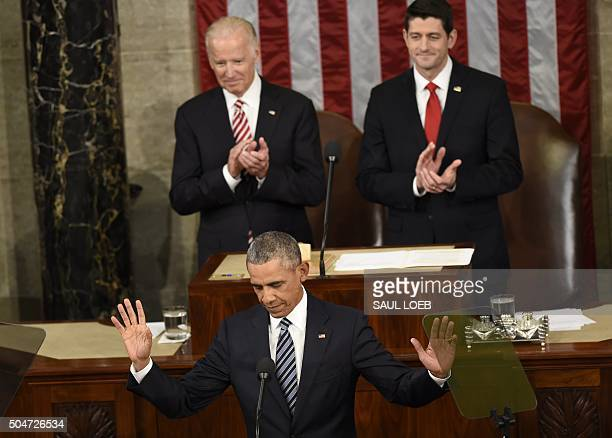 US President Barack Obama arrives to deliver the State of the Union Address during a Joint Session of Congress at the US Capitol in Washington DC...