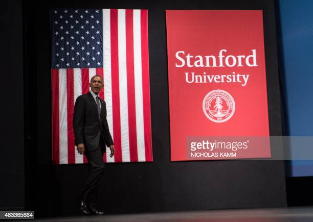 US President Barack Obama arrives to speak at the White House Summit on Cybersecurity and Consumer Protection at Stanford University in Palo Alto on...