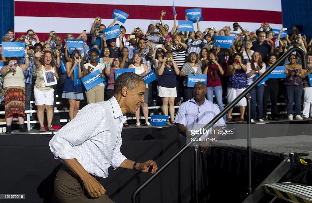 US President Barack Obama arrives to speak during a campaign event at Kissimmee Civic Center in Kissimmee Florida on September 8 during the first day...
