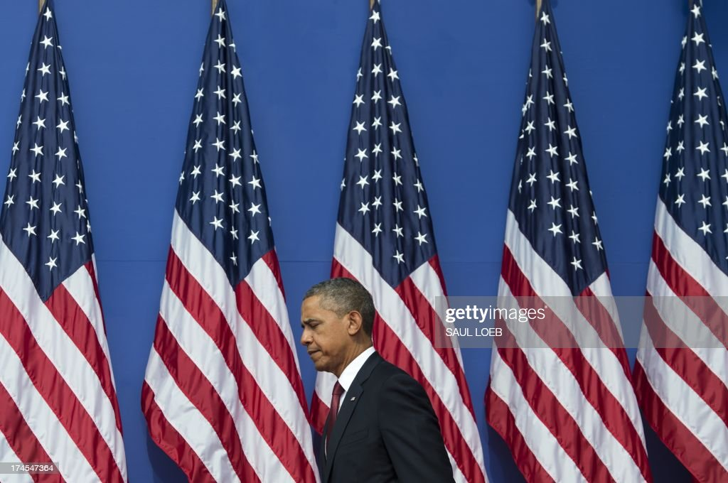US President <a gi-track='captionPersonalityLinkClicked' href=/galleries/search?phrase=Barack+Obama&family=editorial&specificpeople=203260 ng-click='$event.stopPropagation()'>Barack Obama</a> arrives to speak during a ceremony to commemorate the 60th anniversary of the signing of the Armistice that ended the Korean War, at the Korean War Veterans Memorial in Washington, DC, July 27, 2013. AFP PHOTO / Saul LOEB