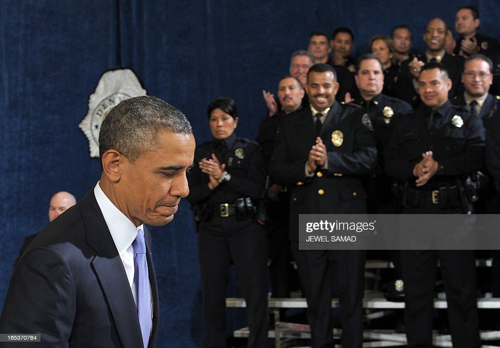 US President Barack Obama arrives to speak on common-sense measures to reduce gun violence at the Denver Police Academy in Denver, Colorado, on April 3, 2013, as he continues asking the American people to join him in calling on Congress to pass common-sense measures to reduce gun violence. The president has demanded votes on measures including a requirement for background checks on all gun purchases, limits on high capacity ammunition magazines, a reinstated assault weapons ban, new gun trafficking laws, and new school safety plans. But the assault weapons ban push appears certain to fail to get sufficient support in the Senate, following a huge campaign by the gun lobby and opposition from Republicans and Democrats from conservative and rural areas. AFP PHOTO/Jewel Samad