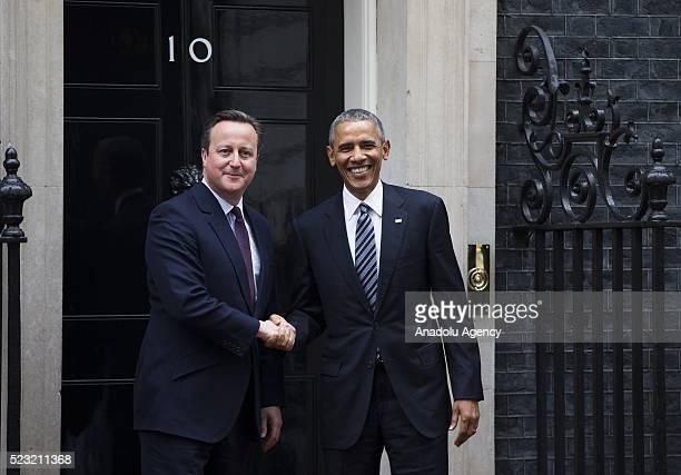 S President Barack Obama arrives to visit Britain's Prime Minister David Cameron in Downing Street in London Britain on April 22 2016