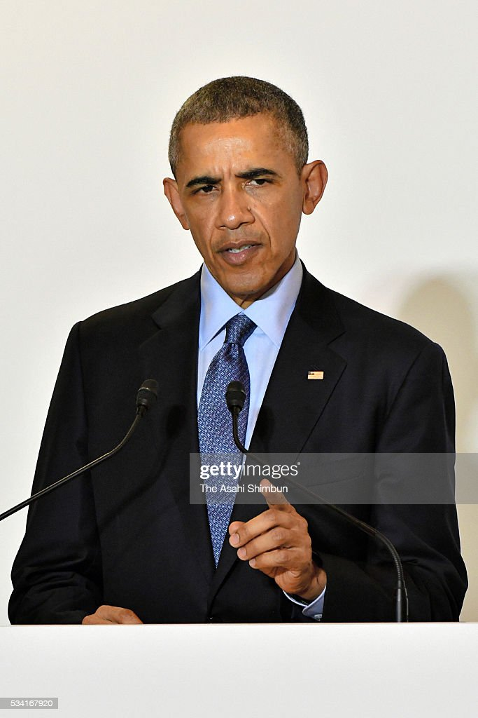 U.S. President <a gi-track='captionPersonalityLinkClicked' href=/galleries/search?phrase=Barack+Obama&family=editorial&specificpeople=203260 ng-click='$event.stopPropagation()'>Barack Obama</a> attends a joint press conference following the bilateral meeting with Japanese Prime Minister Shinzo Abe ahead of the Group of Seven summit on May 25, 2016 in Shima, Mie, Japan. The Group of Seven summit takes place on May 26 and 27 to discuss key global issues such as global economy and anti terrorism measures.