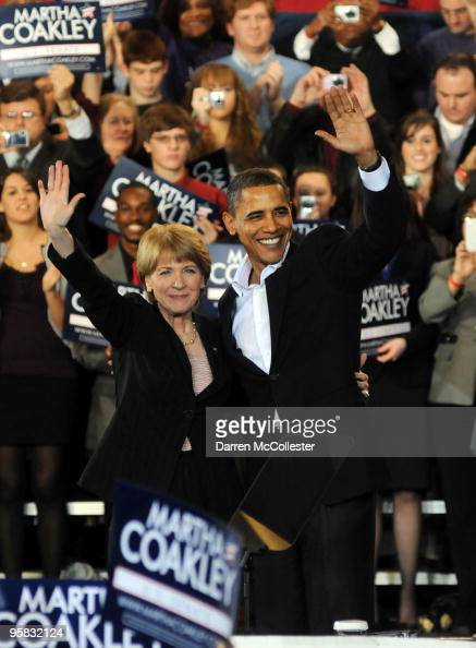 President Barack Obama attends a rally for US Senate democratic nominee Martha Coakley January 17 2010 at Northeastern University in Boston...