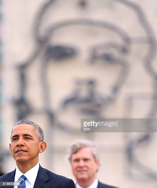 US President Barack Obama attends a wreathlaying ceremony at Jose Marti monument in the Revolution Palace of Havana next to the VicePresident of the...