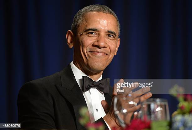 US President Barack Obama attends at the annual White House Correspondent's Association Gala at the Washington Hilton hotel May 3 2014 in Washington...