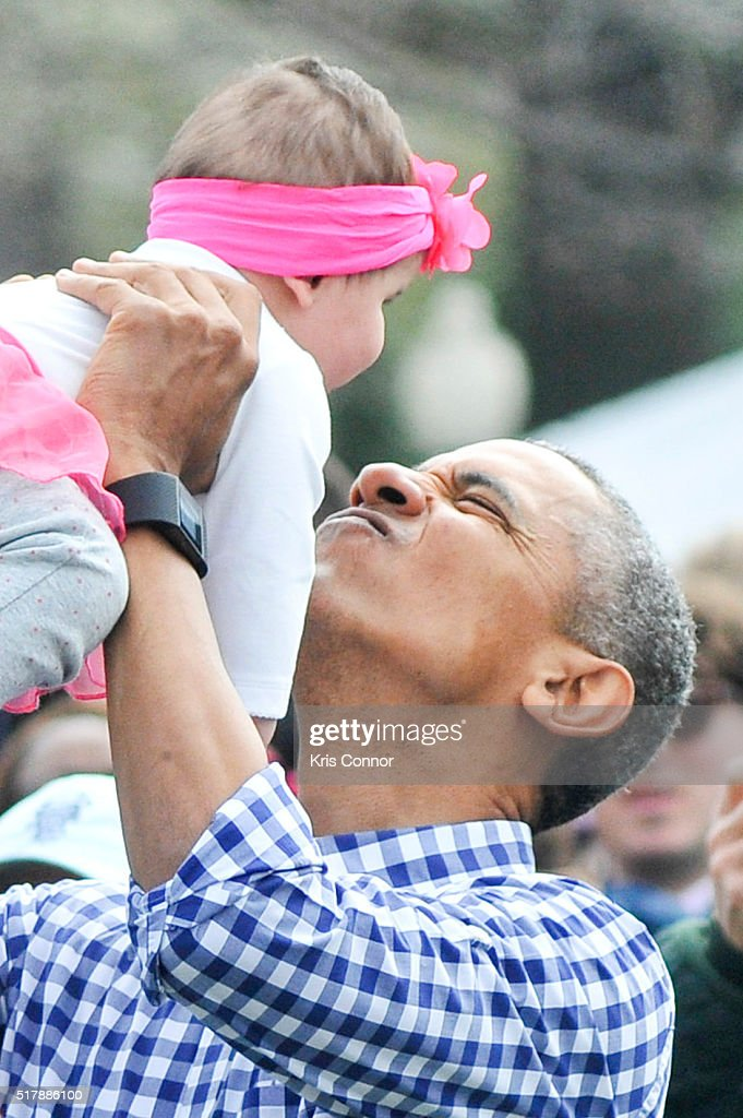 President Barack Obama attends the 2016 White House Easter Egg Roll at the White House on March 28 2016 in Washington DC