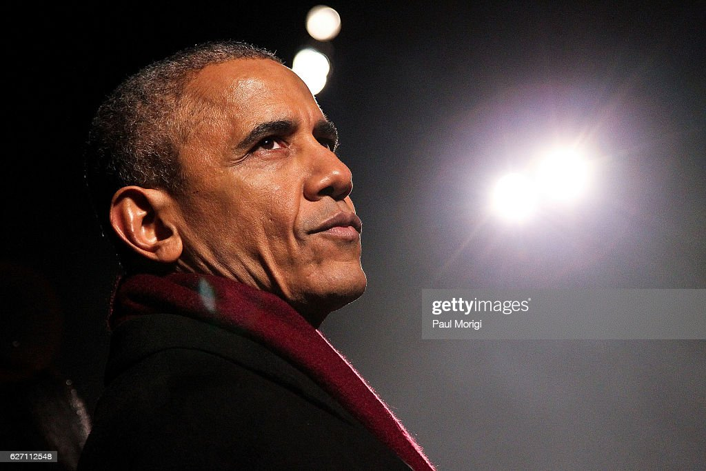 U.S. President Barack Obama attends the 94th Annual National Christmas Tree Lighting Ceremony on the Ellipse in President's Park on December 1, 2016 in Washington, DC.
