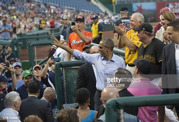US President Barack Obama attends the annual Congressional Baseball Game between the Democrats and Republicans in Congress at Nationals Park in...