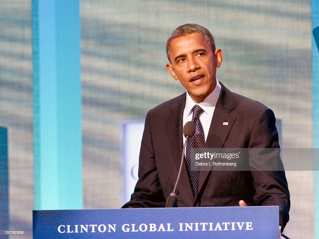 President Barack Obama attends the Clinton Global Initiative 2012 at the New York Sheraton Hotel & Tower on September 25, 2012 in New York City.