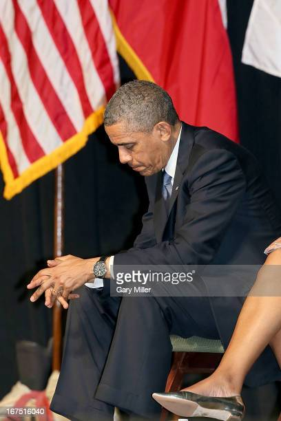 President Barack Obama attends the memorial service for the victims of the West Texas fertilizer plant explosion at Baylor University on April 25...