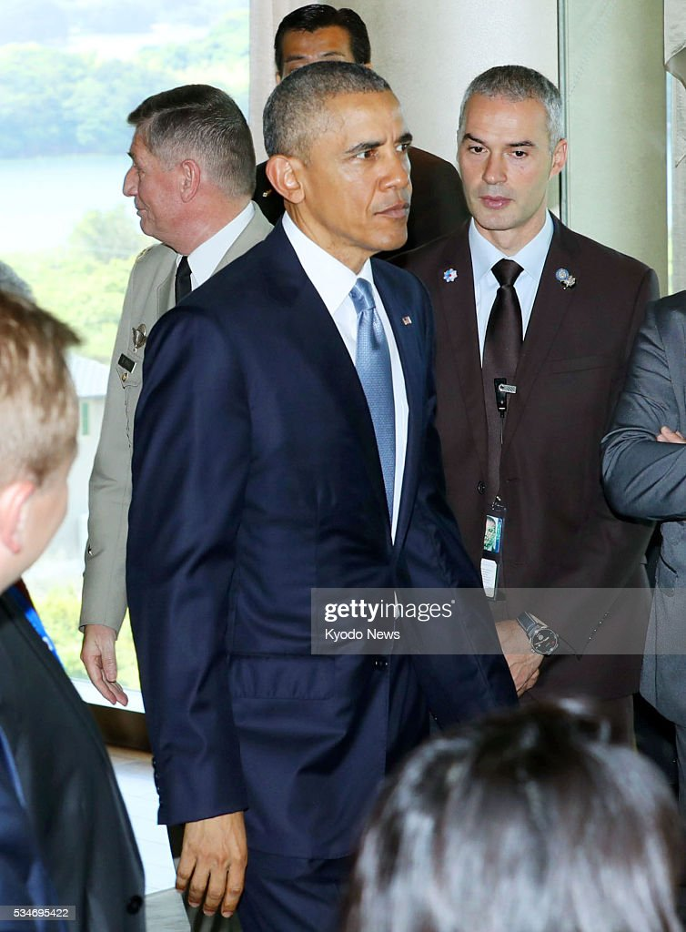U.S. President <a gi-track='captionPersonalityLinkClicked' href=/galleries/search?phrase=Barack+Obama&family=editorial&specificpeople=203260 ng-click='$event.stopPropagation()'>Barack Obama</a> attends the second day of Group of Seven summit talks in the Japanese city of Shima on May 27, 2016. Obama is scheduled to visit Hiroshima later in the day, making him the first American head of state to do so since the United States dropped an atomic bomb on the city in August 1945.