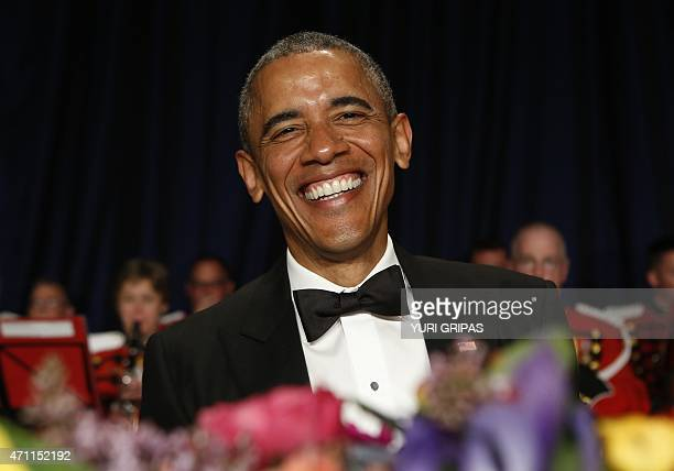 US President Barack Obama attends the White House Correspondents' Association Dinner in Washington DC on April 25 2015 AFP PHOTO/YURI GRIPAS