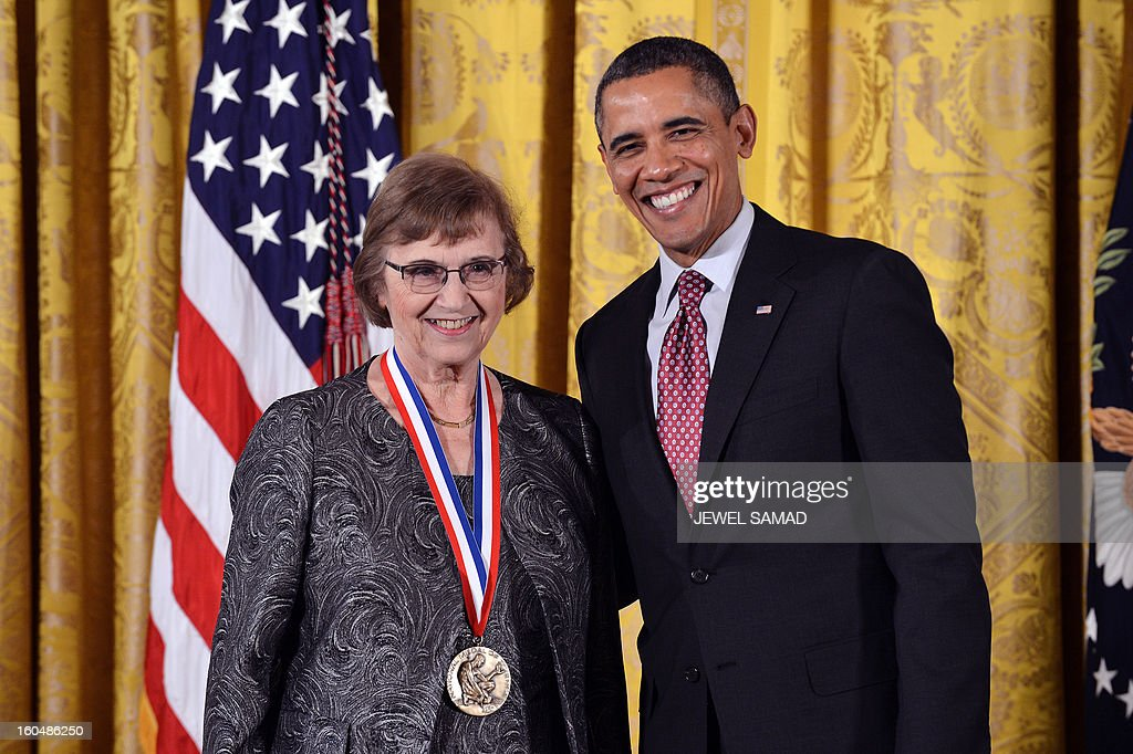 US President Barack Obama awards Anne Treisman from Princeton University with the National Medal of Science, the highest honors bestowed by the US upon scientists, engineers, and inventors, during a ceremony in the East Room at the White House in Washington, DC, on February 1, 2013. AFP PHOTO/Jewel Samad