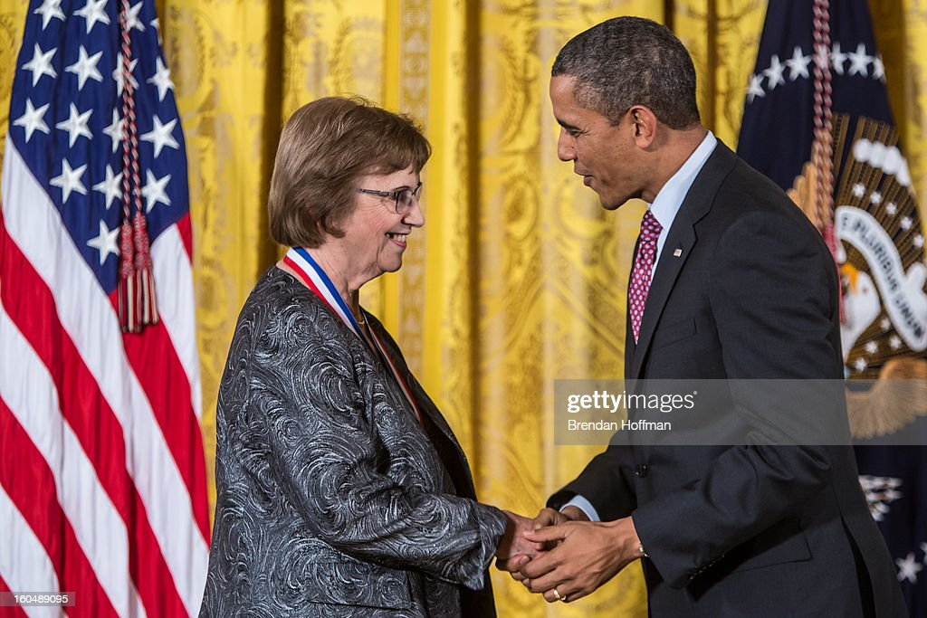 President Barack Obama awards the National Medal of Science to Anne M. Treisman in a ceremony at the White House on February 1, 2013 in Washington, DC. The National Medal of Science recognizes individuals who have made outstanding contributions to science and engineering, while the National Medal of Technology and Innovation recognizes those who have made lasting contributions to America's competitiveness and quality of life and helped strengthen the Nation's technological workforce.