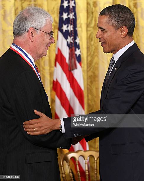 S President Barack Obama awards the National Medal of Science to Dr Peter J Stang of Salt Lake Utah for work on the processes by which individual...