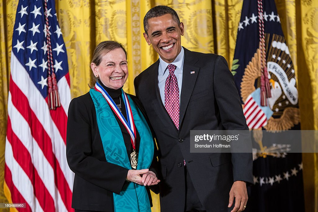 President Barack Obama awards the National Medal of Science to Lucy Shapiro in a ceremony at the White House on February 1, 2013 in Washington, DC. The National Medal of Science recognizes individuals who have made outstanding contributions to science and engineering, while the National Medal of Technology and Innovation recognizes those who have made lasting contributions to America's competitiveness and quality of life and helped strengthen the Nation's technological workforce.