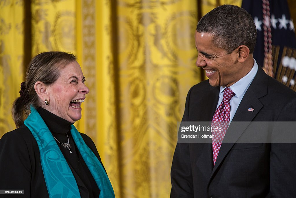President <a gi-track='captionPersonalityLinkClicked' href=/galleries/search?phrase=Barack+Obama&family=editorial&specificpeople=203260 ng-click='$event.stopPropagation()'>Barack Obama</a> awards the National Medal of Science to Lucy Shapiro in a ceremony at the White House on February 1, 2013 in Washington, DC. The National Medal of Science recognizes individuals who have made outstanding contributions to science and engineering, while the National Medal of Technology and Innovation recognizes those who have made lasting contributions to America's competitiveness and quality of life and helped strengthen the Nation's technological workforce.