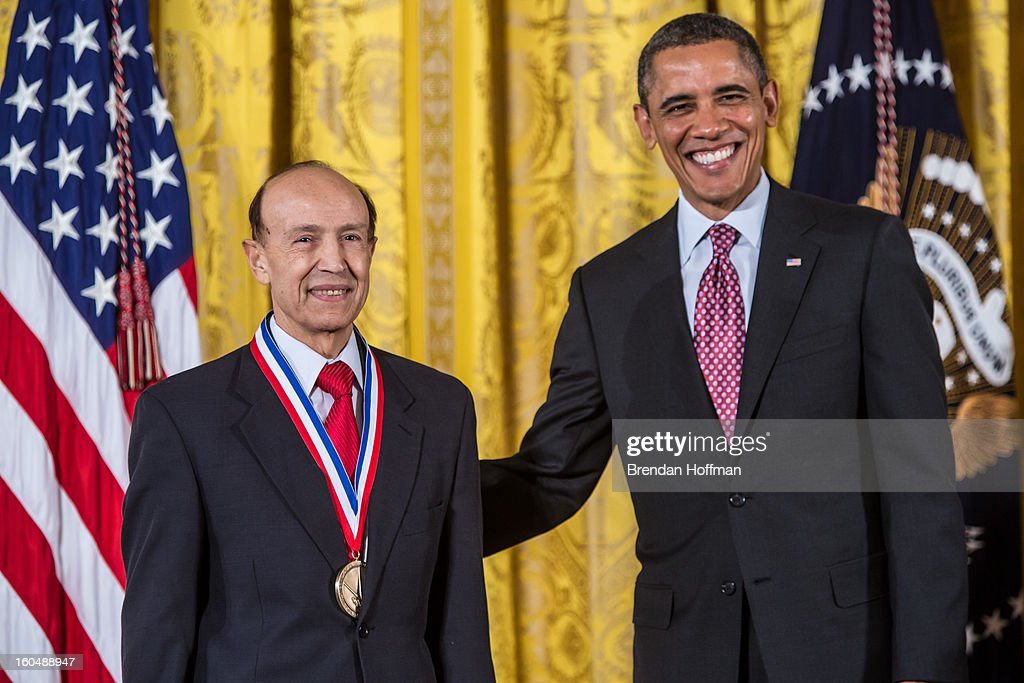 President Barack Obama awards the National Medal of Technology and Innovation to Gholam A. Peyman in a ceremony at the White House on February 1, 2013 in Washington, DC. The National Medal of Science recognizes individuals who have made outstanding contributions to science and engineering, while the National Medal of Technology and Innovation recognizes those who have made lasting contributions to America's competitiveness and quality of life and helped strengthen the Nation's technological workforce.