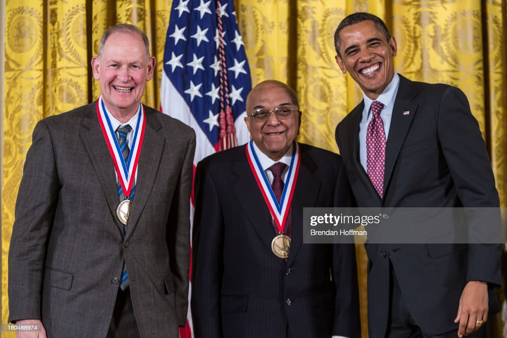 President Barack Obama (R) awards the National Medal of Technology and Innovation to Rangaswamy Srinivasan (C) and James Wynne (L) in a ceremony at the White House on February 1, 2013 in Washington, DC. The National Medal of Science recognizes individuals who have made outstanding contributions to science and engineering, while the National Medal of Technology and Innovation recognizes those who have made lasting contributions to America's competitiveness and quality of life and helped strengthen the Nation's technological workforce.
