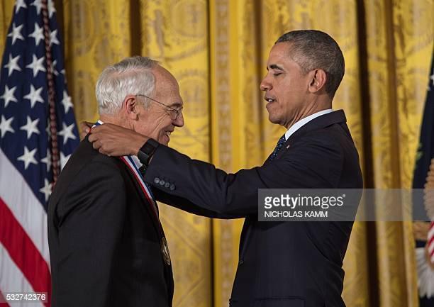 US President Barack Obama awards the National Medal of Technology and Innovation to Dr Arthur Gossard University of California Santa Barbara for...