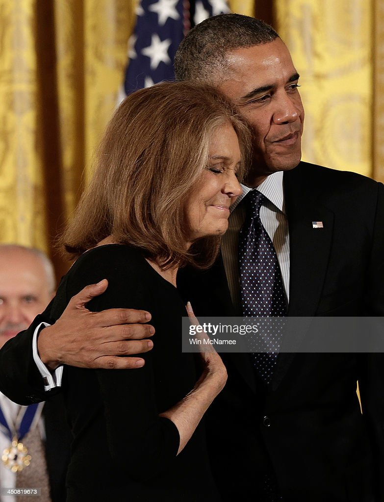 U.S. President Barack Obama (R) awards the Presidential Medal of Freedom to Gloria Steinem in the East Room at the White House on November 20, 2013 in Washington, DC. The Presidential Medal of Freedom is the nation's highest civilian honor, presented to individuals who have made meritorious contributions to the security or national interests of the United States, to world peace, or to cultural or other significant public or private endeavors.